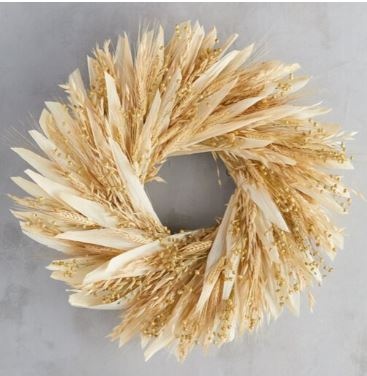 Dried corn husks, oat, flax on a natural twig base from Terrain