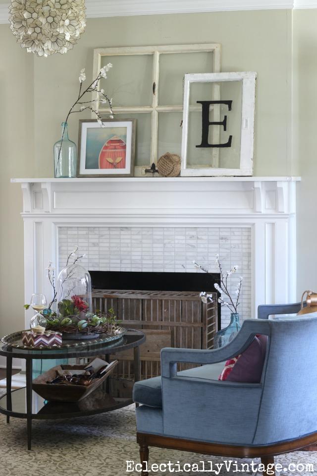 spring mantel decorating ideas love the leaning windows and rowboat art kellyelko com