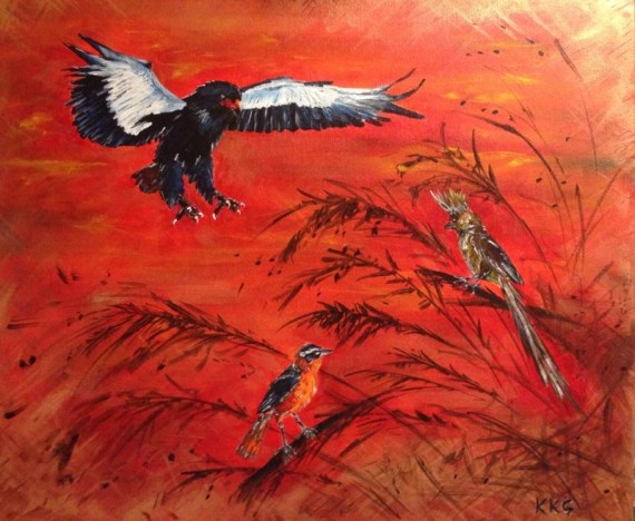 Birds of Zambia - acrylics on canvas - Kelly Goss