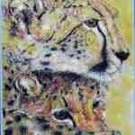 Cheetah and cub - chalk pastels - Kelly Goss