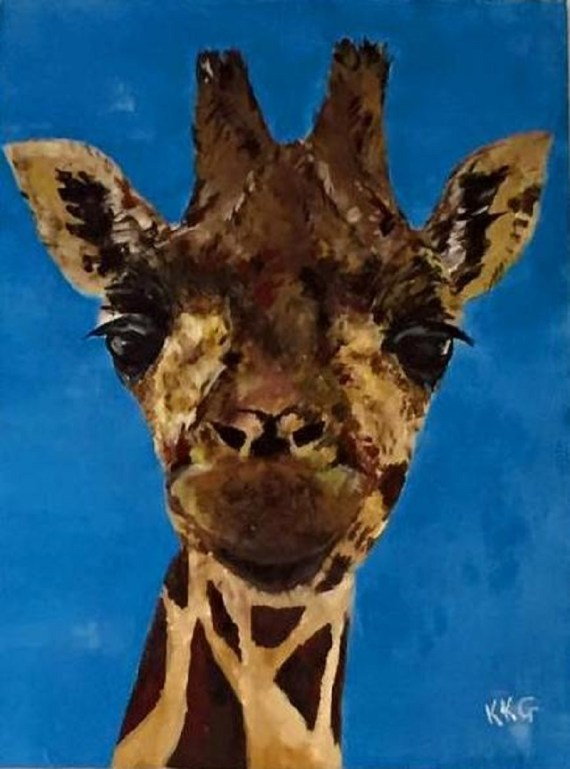 Giraffe - acrylics on canvas - Kelly Goss