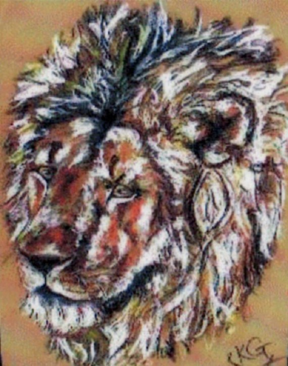 Lion - chalk pastels - Kelly Goss