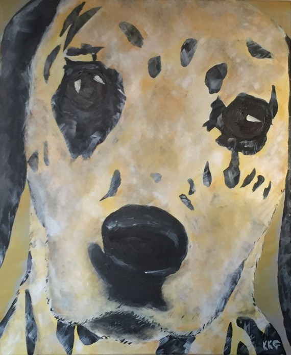 Dalmation dog painting - acrylics on canvas - Kelly Goss