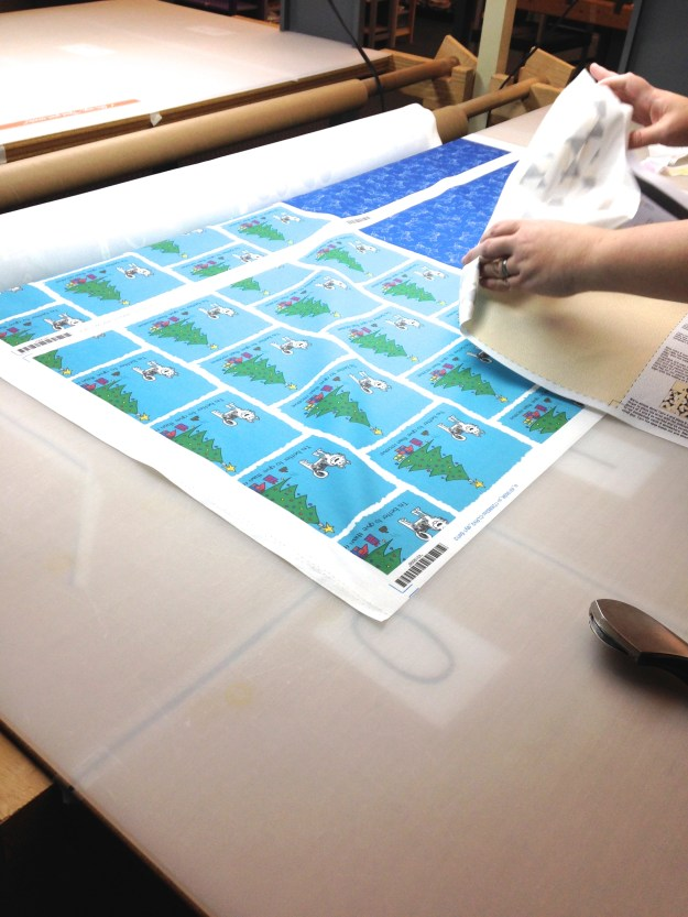 Spoonflower fabric order being hand cut