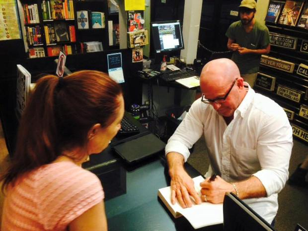 Fellow WFWA writer Scott Wilbanks signs my copy of his book - The Lemoncholy Life of Annie Aster - at Book Soup here in Los Angeles.