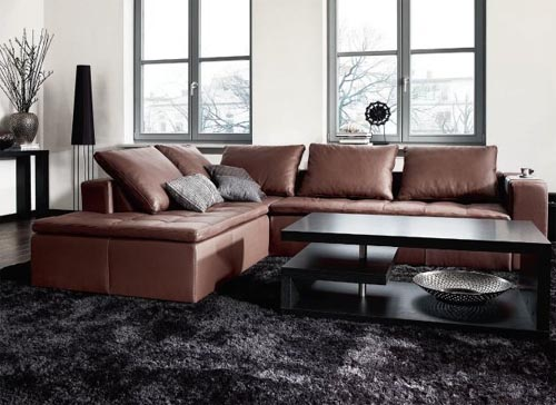 New Living Room with Brown Sofa
