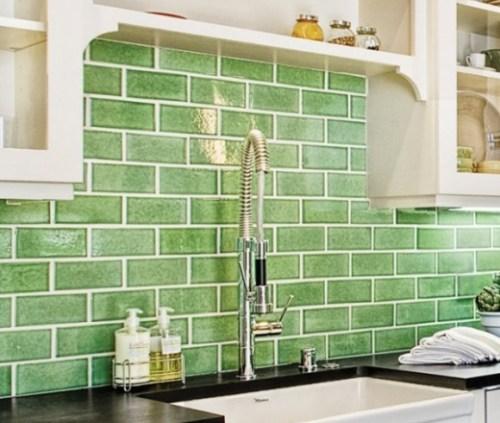 Ceramic Subway Tile Kitchen Backsplash