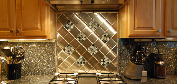 Metal Backsplash Tiles for Kitchens