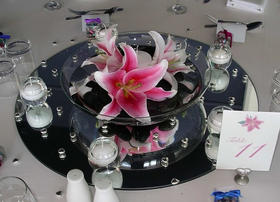 Floating Candle Centerpieces with Flowers