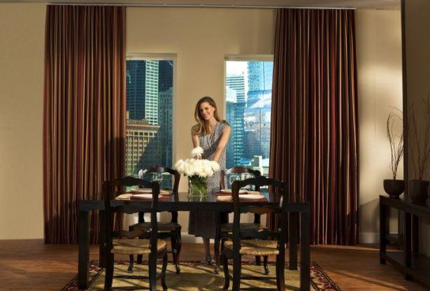 Window Treatments For Tall Windows with Loft Curtain