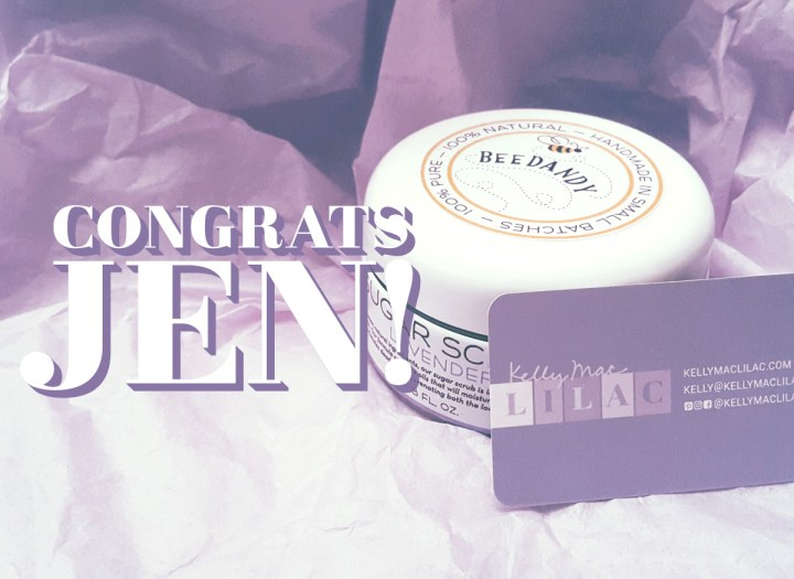 lilac loyal give-a-ay winner congrats jen with sugar scrub prize and kellymaclilac business card featured on lilac tissue paper