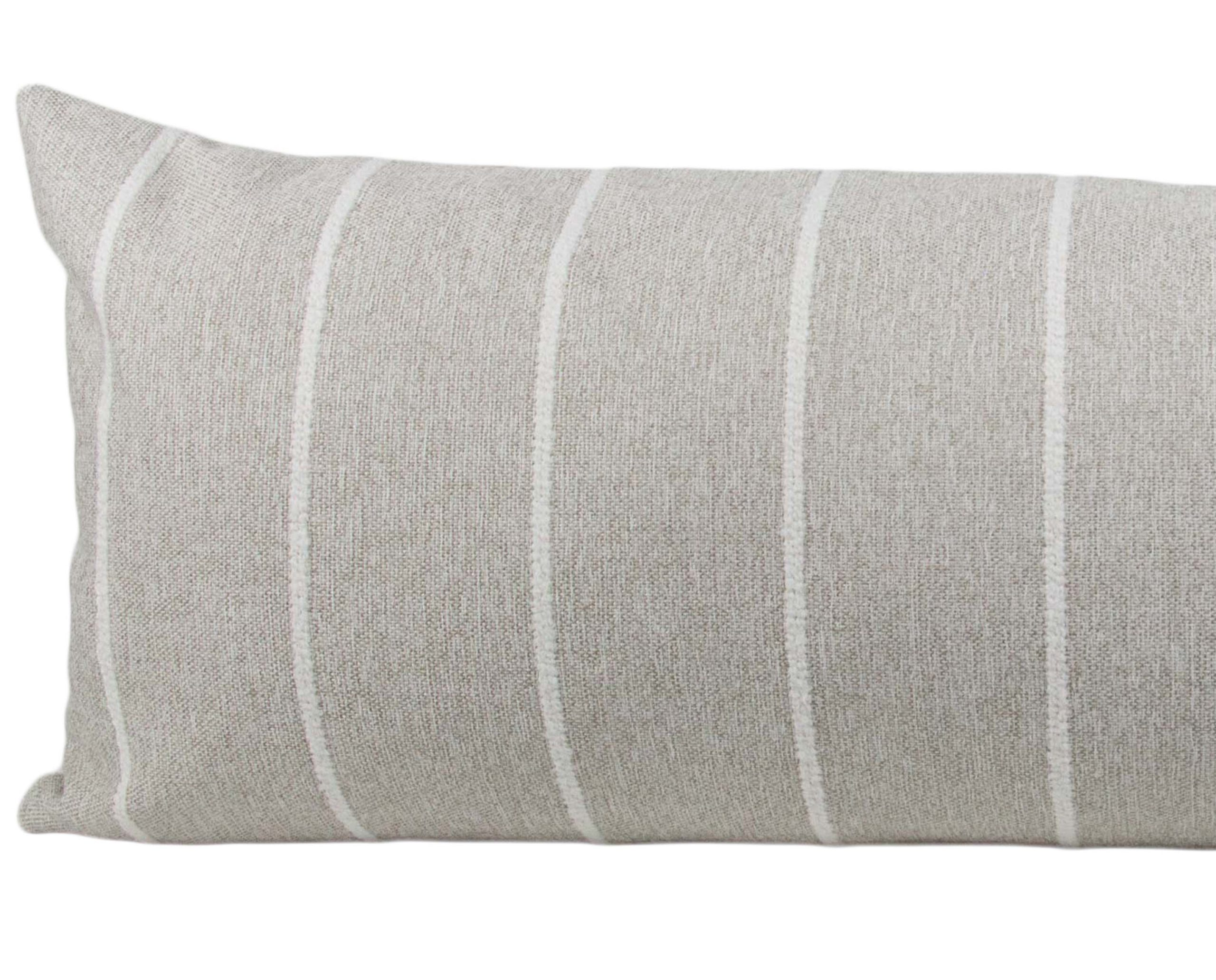 sand white striped long lumbar pillow cover