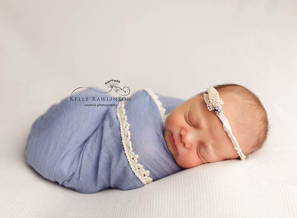 Bradford Newborn Photography, sweet baby girl in blue.