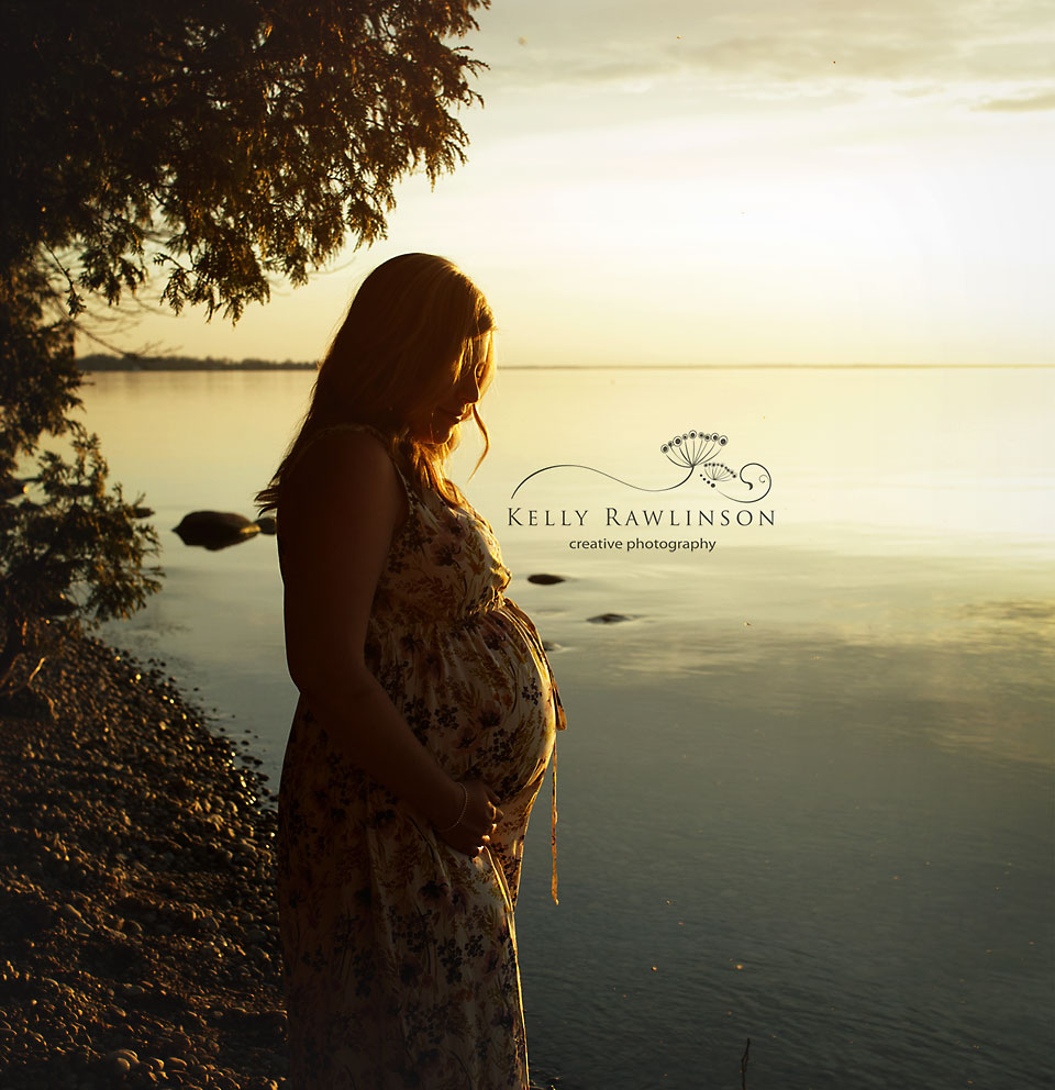 Silouhette of baby bump maternity photo, beautiful pregnancy, sunset Lake Simcoe