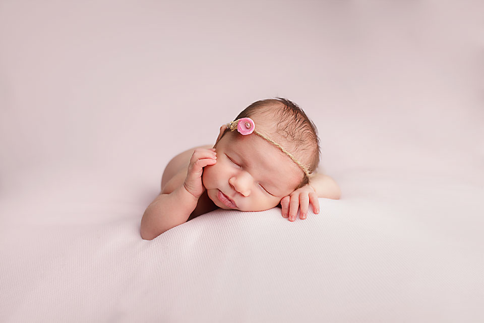 newborn baby, northern york region, georgina, pink floral headband, isty bitsy blooms