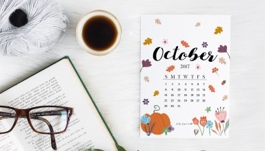 October 2017 Printable Calendar + Wallpapers by Kelly Sugar Crafts