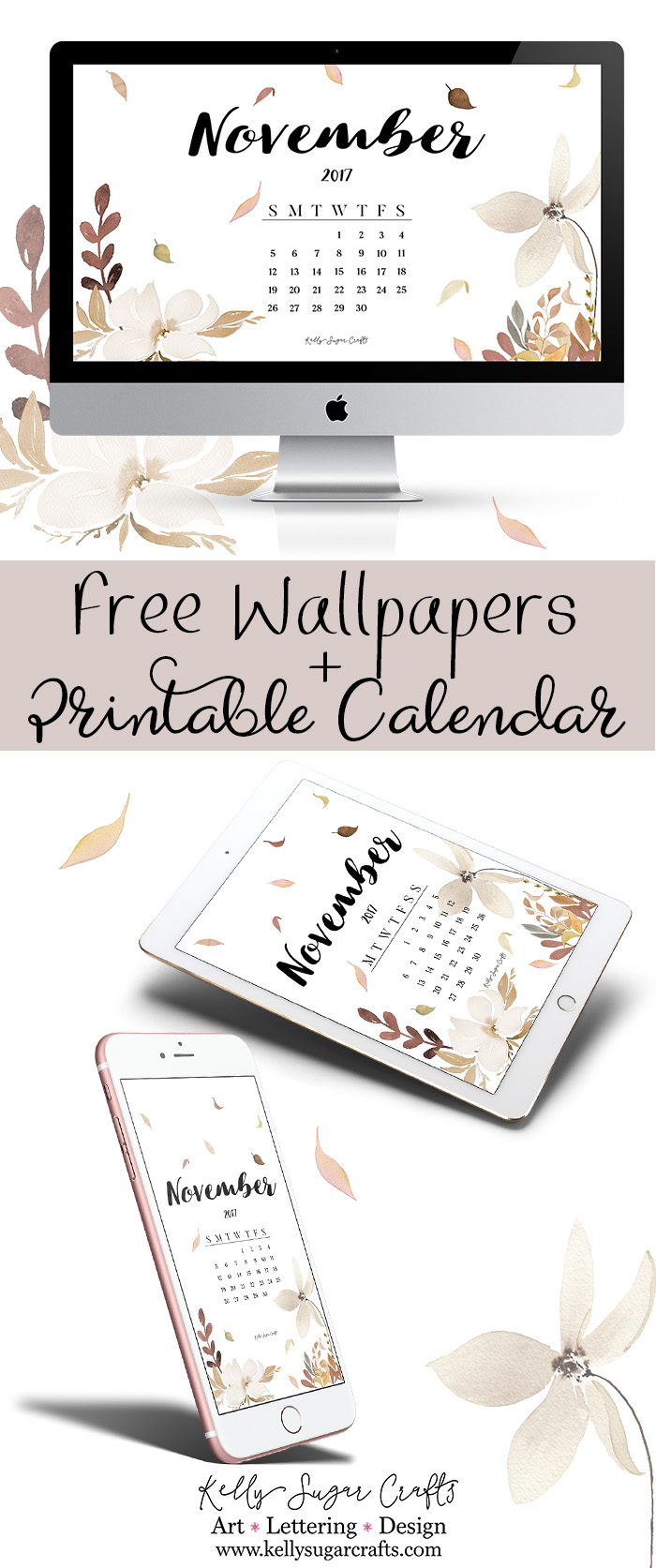 November 2017 Calendar Wallpapers and Free Printable by Kelly Sugar Crafts