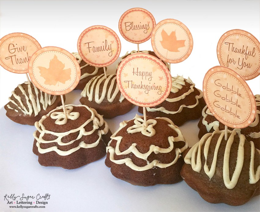 Free Fall Thanksgiving Printables   Place cards, food tents, cupcake toppers, gift tags   Kelly Sugar Crafts