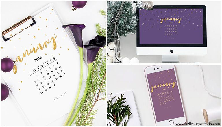 January 2018 Calendar Wallpapers + Printable by Kelly Sugar Crafts