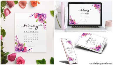 Free February 2018 Calendar Wallpapers + Printable by Kelly Sugar Crafts
