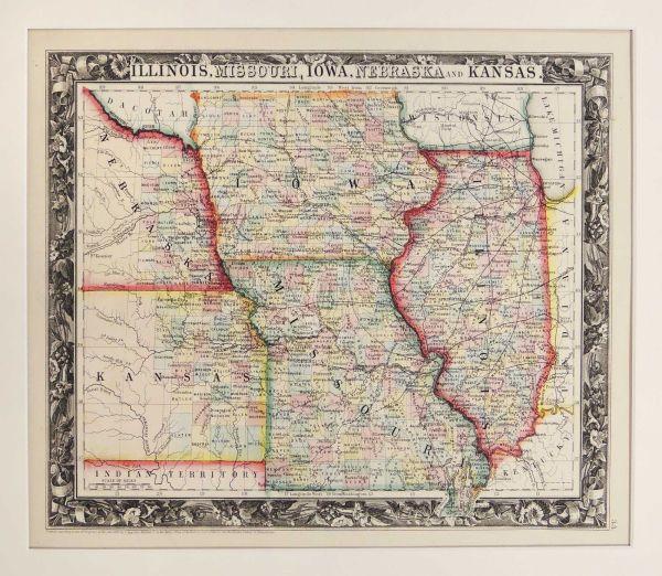 Map of Illinois Missouri Iowa Nebraska and Kansas