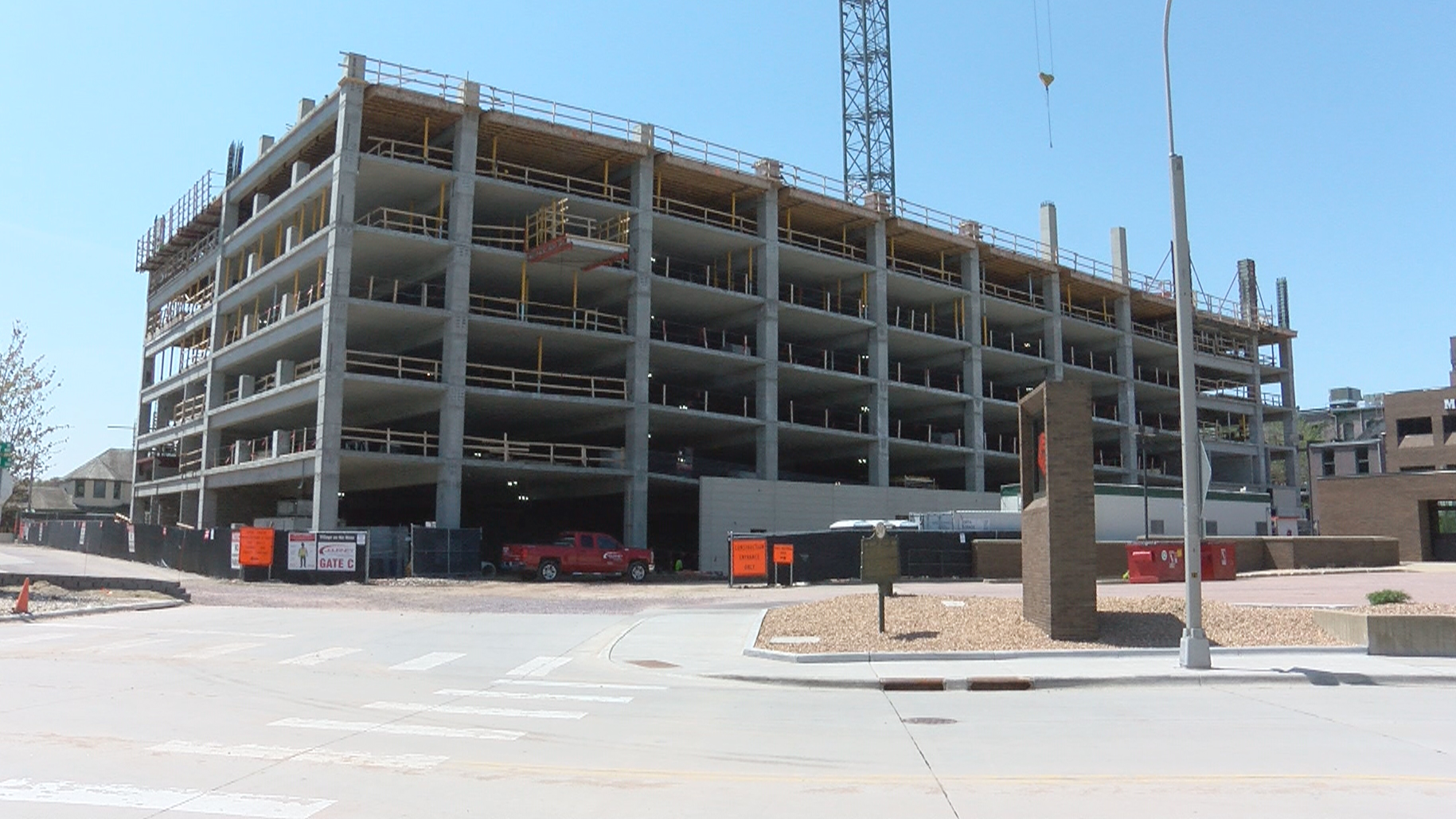KELO Village on the River downtown parking ramp Sioux Falls