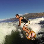 Dude wake-boarding on Okanagan Lake