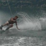 Guy wakeboarding on Okanagan Lake.