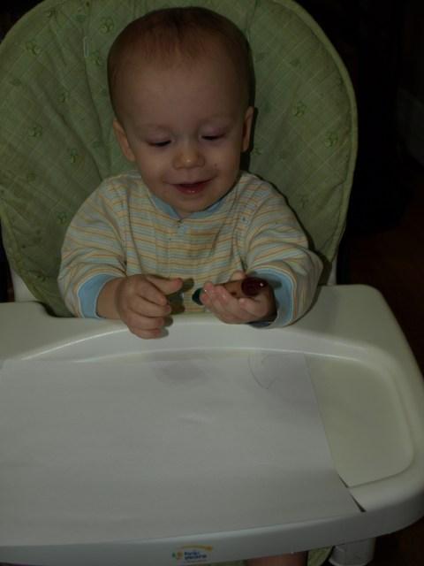 Dillon with a crayon