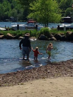Luke, Dillon and Rayleigh in the shallows of Lake Champlain.