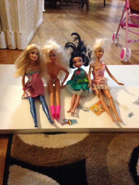 Barbies in a row