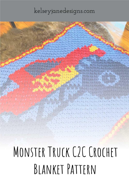 Free Beginner C2C Crochet Monster Truck Pattern