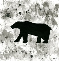 Polar bear - ink wash 5x5""