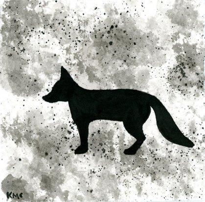 "Fox - ink wash 5x5"""