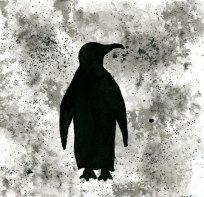 """Penguin - ink wash 5x5"""""""