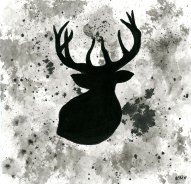 "Elk - ink wash 5x5"""