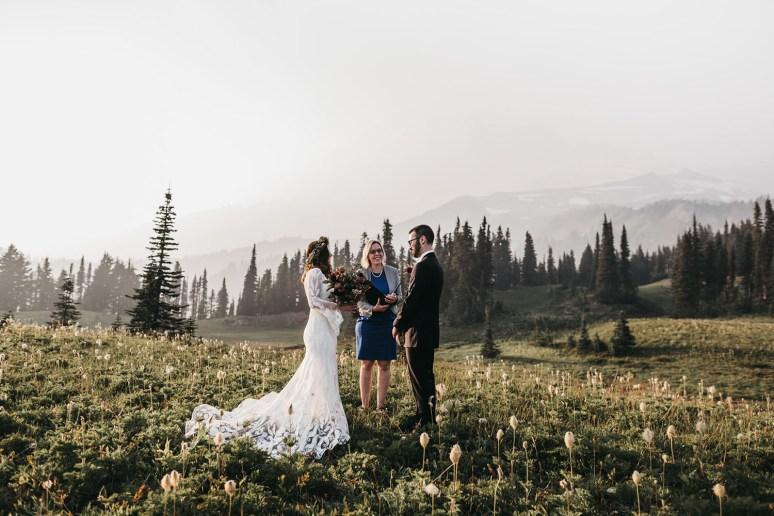 rue de seine wedding dress worn by a bride for her elopement in the mountains