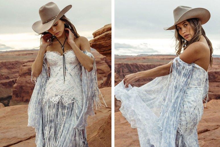 boho bride wearing a cowboy hat and blue bayou tassel wedding dress by rue de seine