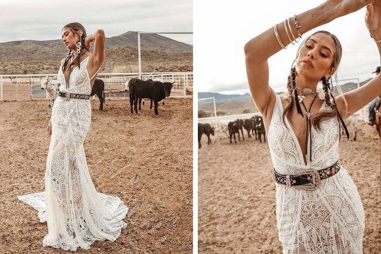 bohemian lace rue de seine wedding dress worn by beautiful bride in western scene