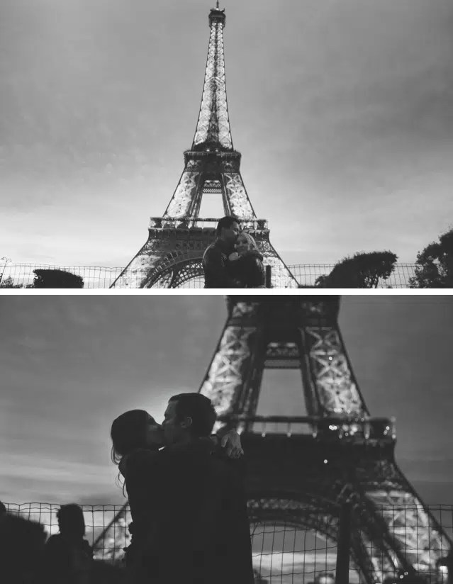 kissing couple at the eiffel tower paris west sussex brighton photographer