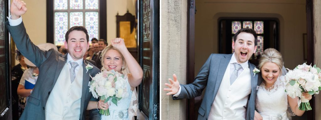 Christ Church Woodford in Cheshire couple recessional celebration - Brighton wedding photographer