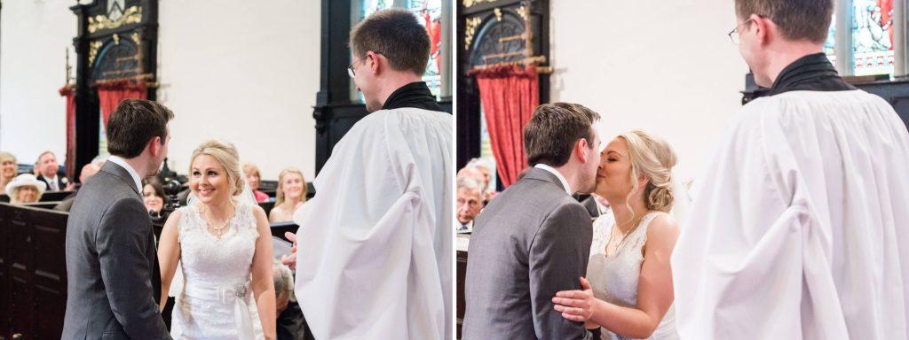 Christ Church Woodford first kiss bride and groom - Brighton wedding photographer
