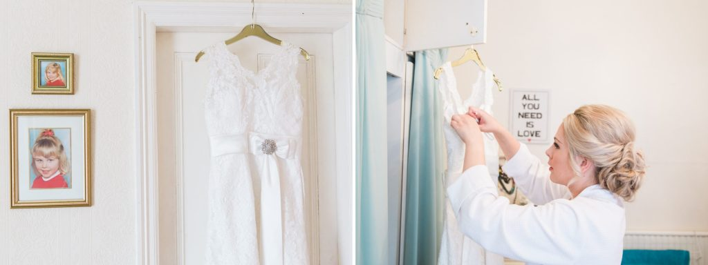 Manchester bride getting into wedding dress - Brighton wedding photographer