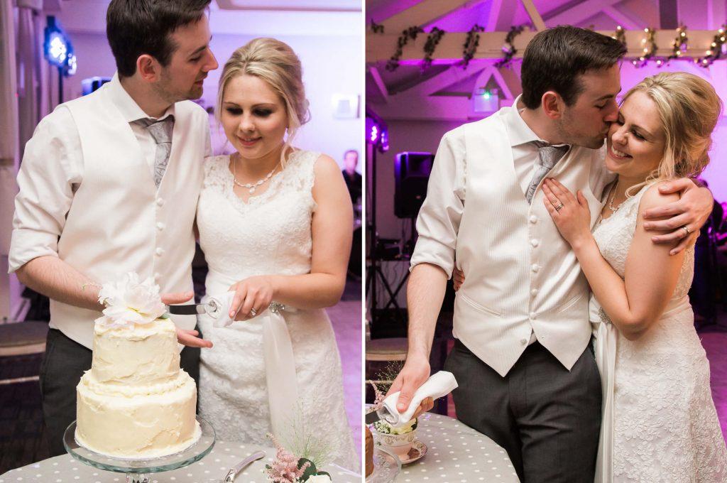 Quarry Bank Mill reception cake cutting - brighton wedding photography