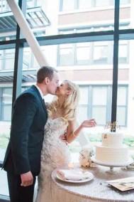 chicago wedding photographer cutting cake