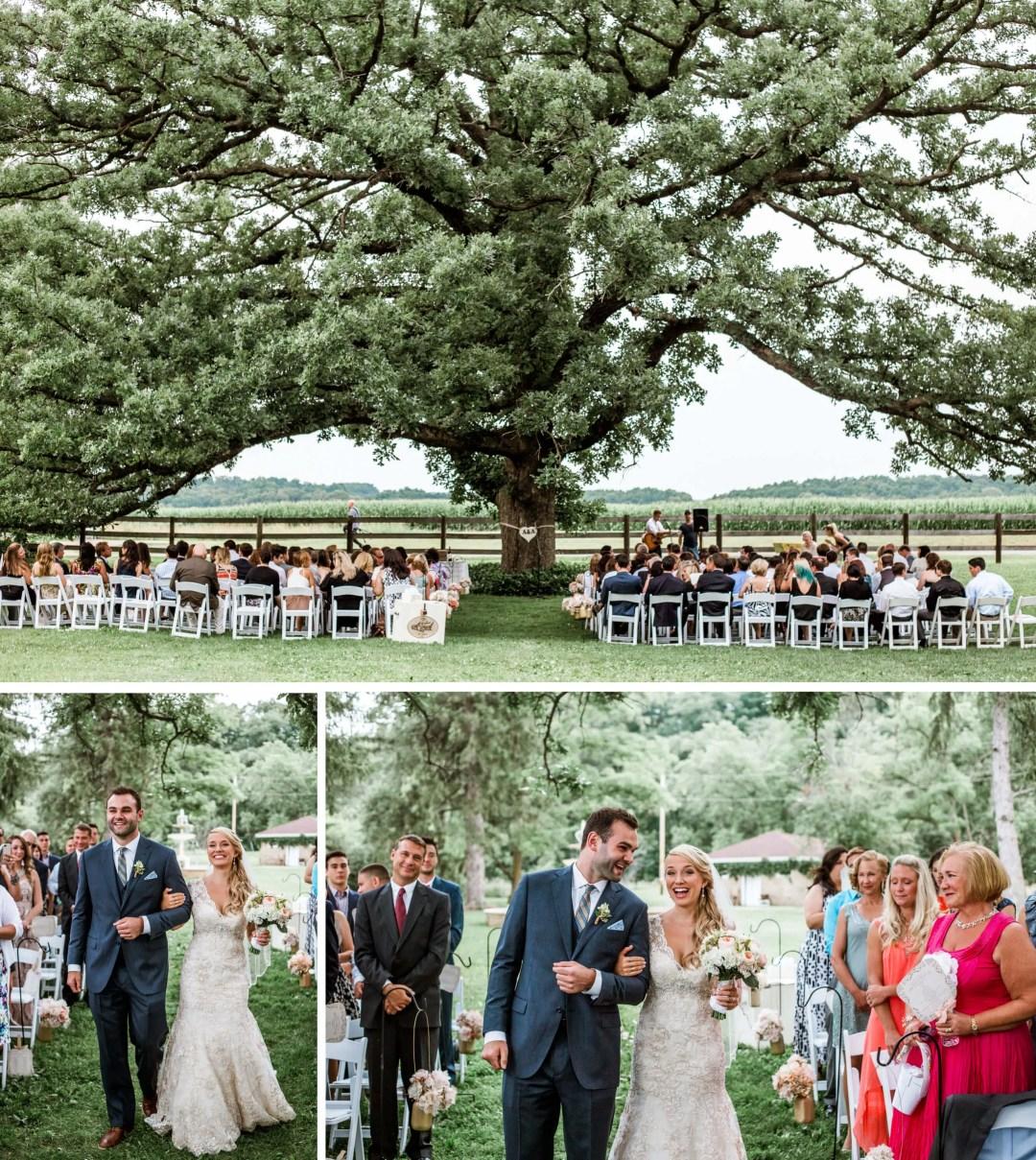 Ceremony under big oak tree - sussex wedding photographer