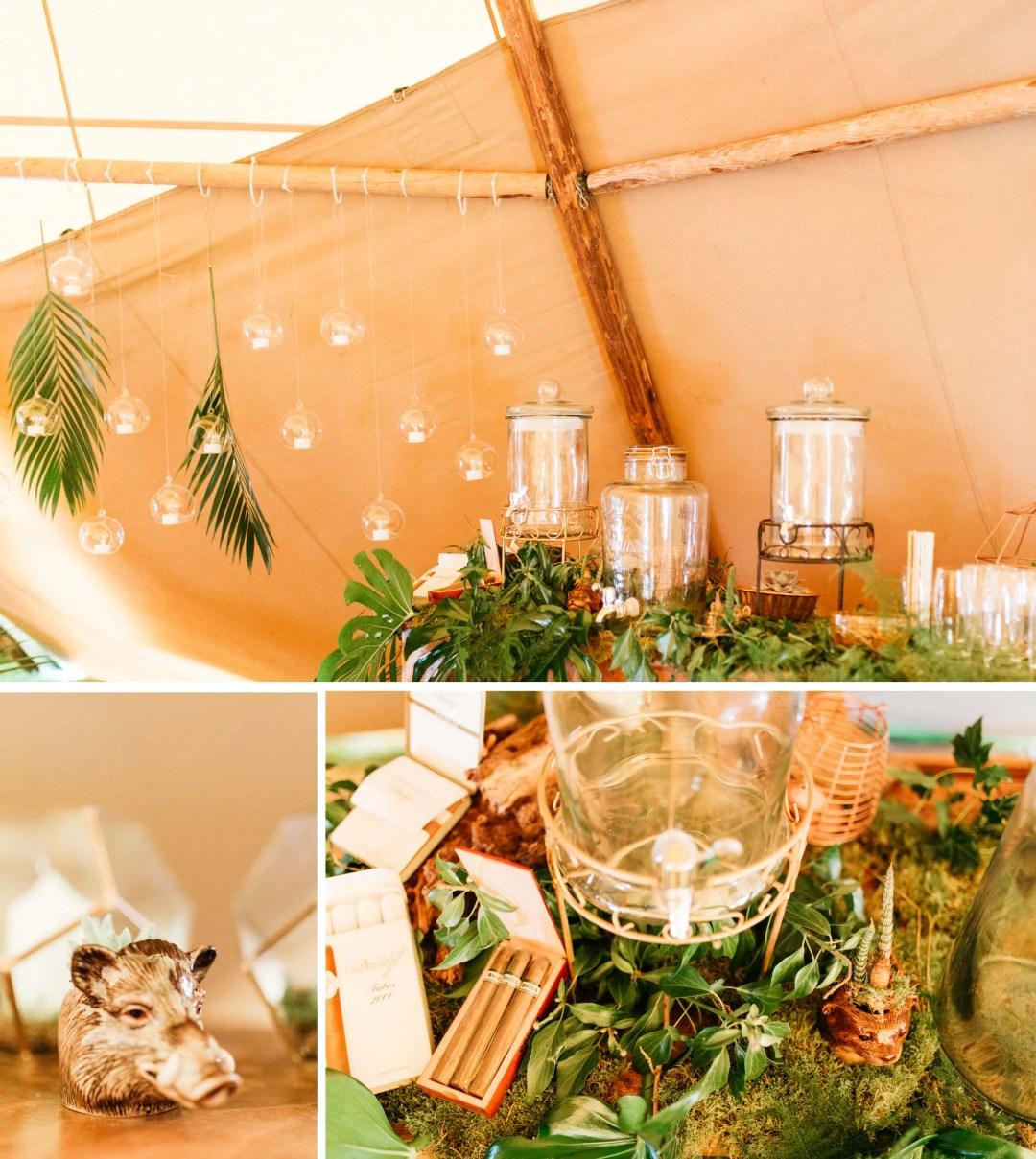 Safari wedding theme bar in tipi in Horsham - West Sussex wedding photographer