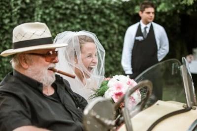 Fossa Mala Bride in Bugatti at Ceremony