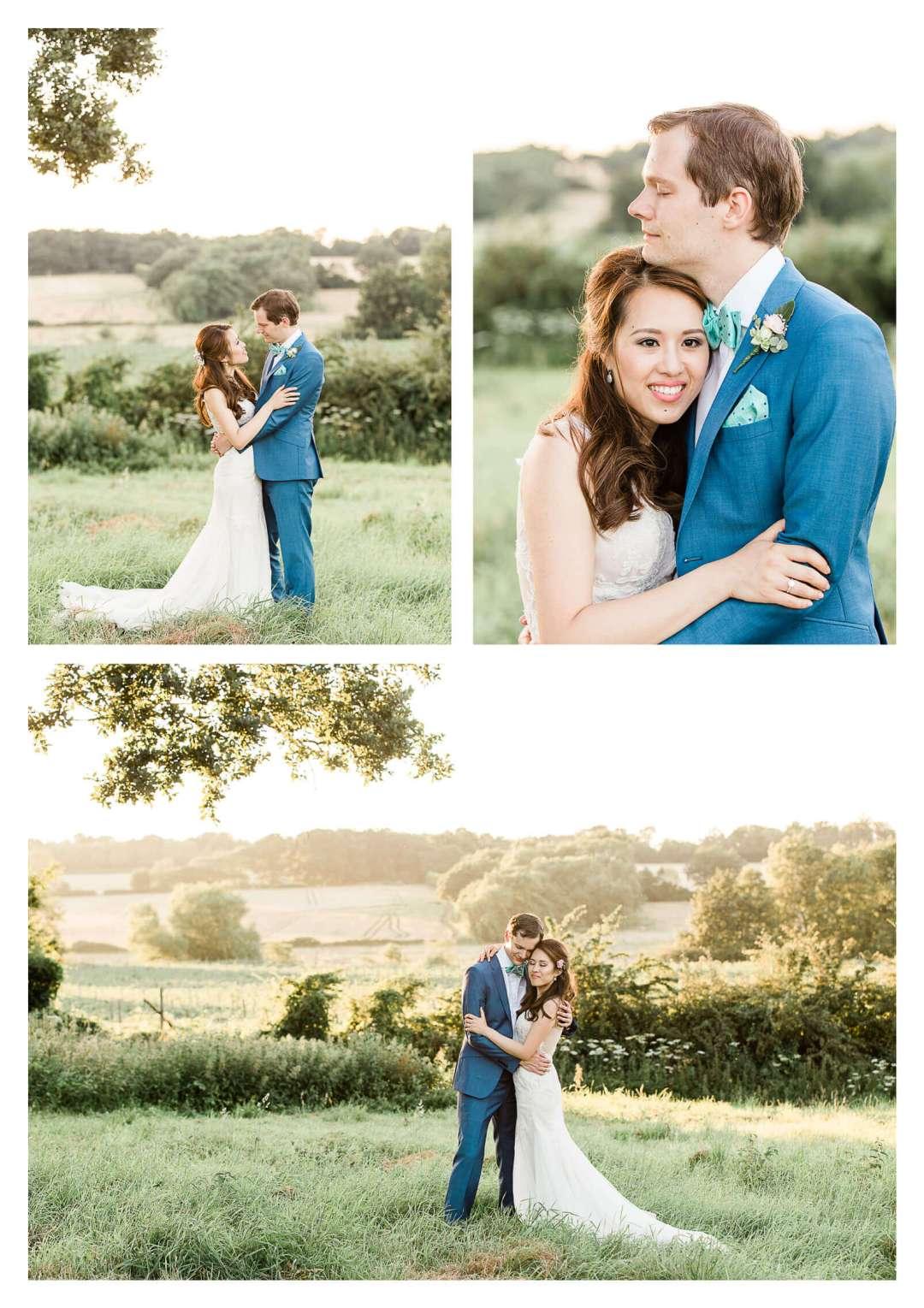 Finchcocks Oast wedding couple portraits in field at sunset | Kent wedding photographer