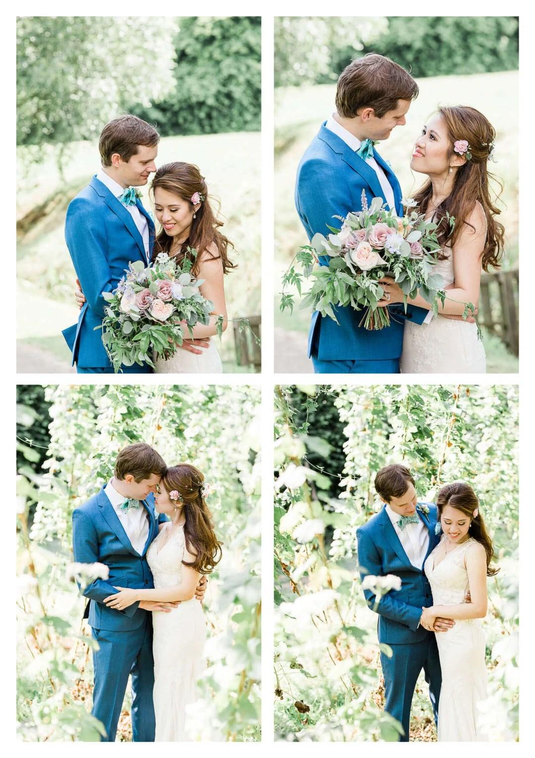 Finchcocks Oast wedding couple portraits in vineyard | Kent wedding photographer